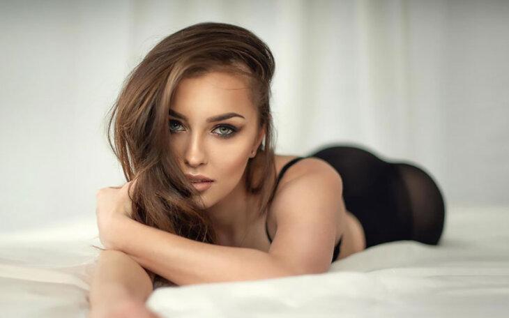 beautiful polish woman on bed