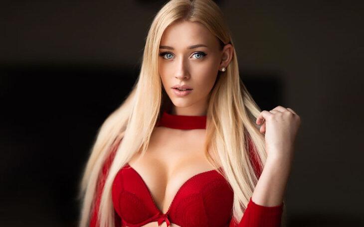 pretty swedish bride in red lingerie